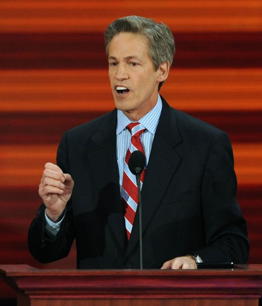 Sen. Norm Coleman, R-MN, speaks on the third day of the Republican National Convention in St. Paul, Minnesota, on September 3, 2008. (UPI Photo/Roger L. Wollenberg)