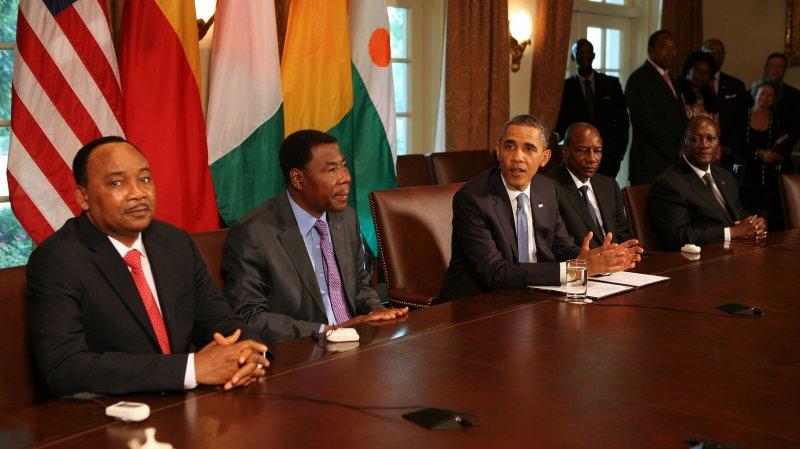 President Barack Obama meets African leaders in Washington. UPI/Martin H. Simon/Pool