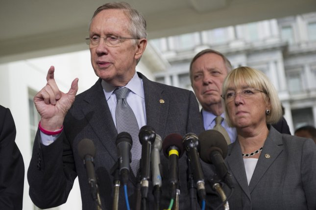 Senate Majority Leader Harry Reid (D-NV) speaks to the media as he is joined by Sen. Patty Murray (D-WA) and Assistant Senate Majority Leader Richard Durbin (D-IL) after a meeting with President Obama on the government shutdown and the debt limit, in Washington, D.C on October 10, 2013. UPI/Kevin Dietsch