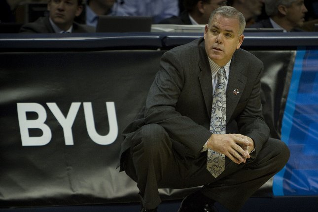 BYU head coach Dave Rose watches play against Gonzaga during the second half of the NCAA Southeast third round regional at the Pepsi Center in Denver on March 19, 2011. BYI beat Gonzaga 89-67 to advance to the sweet 16. UPI/Gary C. Caskey