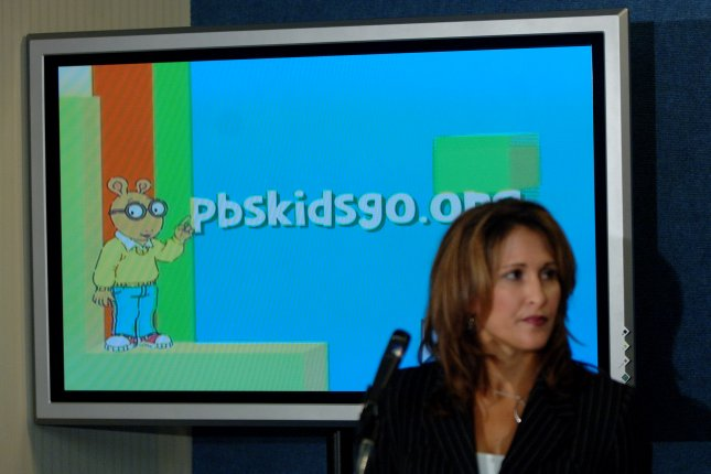 Lesli Rotenberg, senior vice president of brand management and Promotion for PBS, talks about public television's launch of digital programming for broadcast and cable during a news conference on Oct. 12, 2005. File Photo by Roger L. Wollenberg/UPI