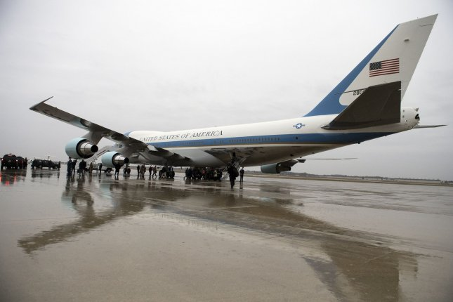 Air Force One is seen parked on the tarmac at Joint Base Andrews, Md., on Dec. 6. Wednesday, Boeing addressed President-elect Donald Trump's previous remarks about the cost of the next presidential aircraft by assuring him the price tag will be under $4 billion. The new jets are expected to carry the president of the United States beginning in the 2020s. Photo by Kevin Dietsch/UPI