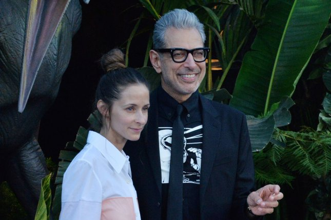 Jeff Goldblum (R) and Emilie Livingston attend the Los Angeles premiere of Jurassic World: Fallen Kingdom on June 12. File Photo by Jim Ruymen/UPI