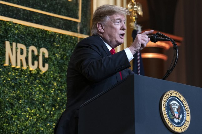 President Donald Trump speaks Tuesday at the National Republican Congressional Committee Spring Dinner at the National Building Museum in Washington, D.C. Photo by Ron Sachs/UPI