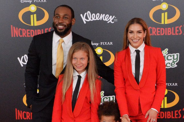 Allison Holker (R) and Stephen tWitch Boss (L), pictured with son Maddox and Holker's daughter, Weslie, announced Holker's pregnancy on The Ellen DeGeneres Show. File Photo by Jim Ruymen/UPI