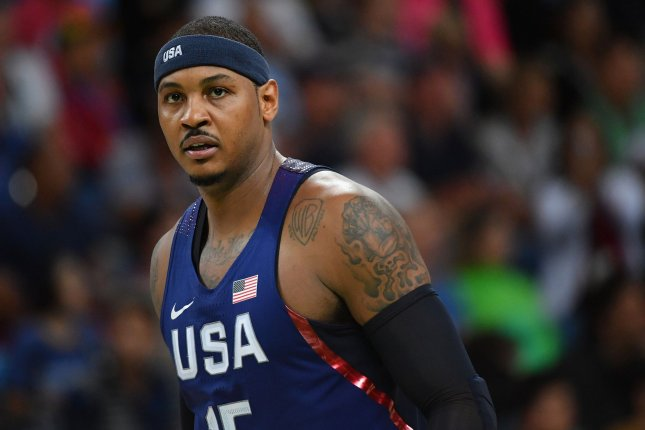 Former Team USA member Carmelo Anthony is a three-time Olympic gold medalist. File Photo by Kevin Dietsch/UPI