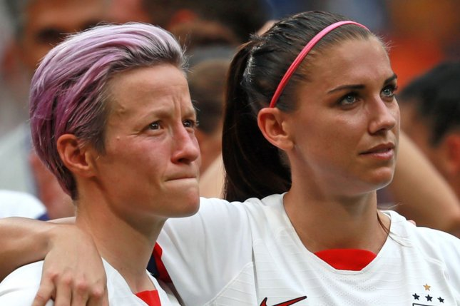 Megan Rapinoe (L) and Alex Morgan are among the 17 players on the United States Women's National Team roster for Tokyo 2020 who also were on roster for the 2019 World Cup title team. File Photo by David Silpa/UPI