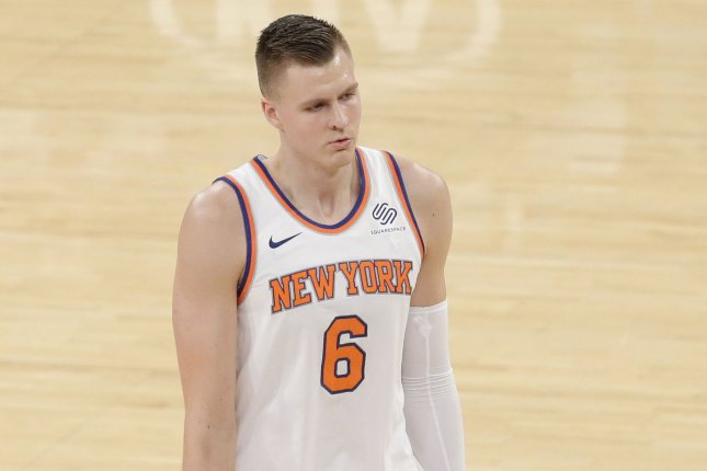 New York Knicks Kristaps Porzingis walks to the bench for a time out in the first half against the Utah Jazz at Madison Square Garden in New York City on November 15, 2017. File photo by John Angelillo/UPI