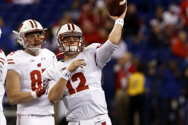 Wisconsin Badgers quarterback Alex Hornibrook (12) throws during warmups before their game against the Penn State Nittany Lions in the 2016 Big Ten Football Championship Game on December 3, 2016 in Indianapolis. File photo by John Sommers II/UPI
