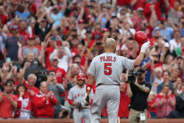 Former St. Louis Cardinals first baseman Albert Pujols has 13 home runs for the Los Angeles Angels this year. Photo by Bill Greenblatt/UPI