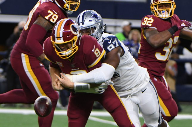Dallas Cowboys defensive lineman Taco Charlton was declared inactive for the team's first two games this season. File Photo by Ian Halperin/UPI
