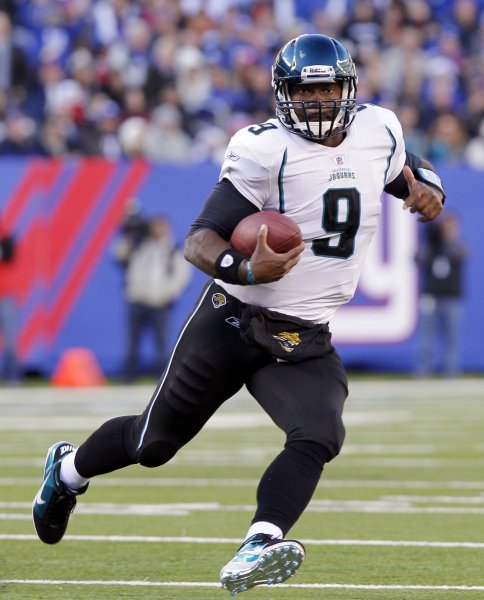 Jacksonville Jaguars David Garrard runs out of the pocket in the second quarter against the New York Giants at New Meadowlands Stadium in week 12 of the NFL in East Rutherford, New Jersey on November 28, 2010. UPI /John Angelillo