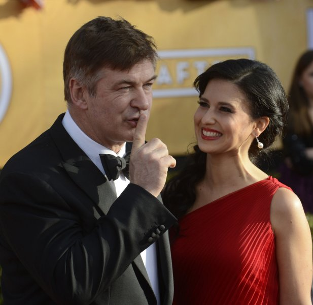 Actor Alec Baldwin and wife Hilaria Thomas arrive for the 19th Annual SAG Awards held at the Shrine Auditorium in Los Angeles on on January 27, 2013. UPI/Phil McCarten