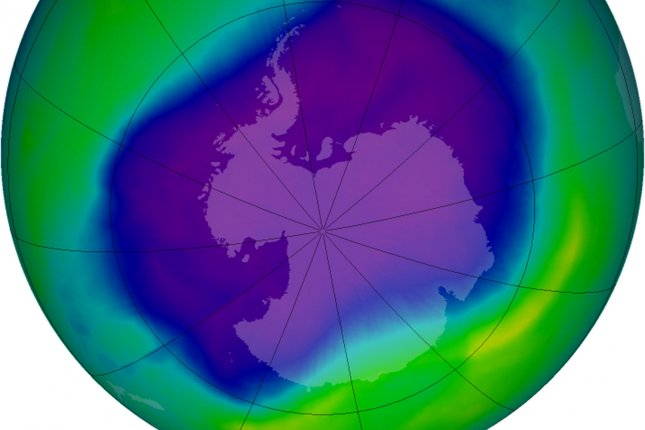 From September 21-30, 2006 the average area of the ozone hole was the largest ever observed, at 10.6 million square miles. In this image, from Sept. 24, the Antarctic ozone hole was equal to the record single-day largest area of 11.4 million square miles, reached on Sept. 9, 2000. The blue and purple colors are where there is the least ozone, and the greens, yellows, and reds are where there is more ozone. (UPI Photo/NASA)