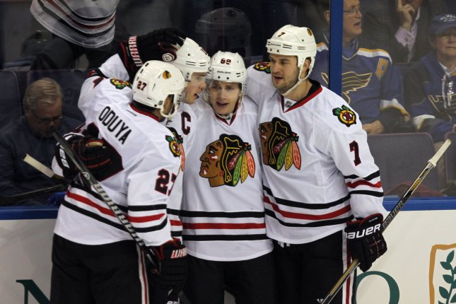 Patrick Kane (C) scored a goal and an assist to help Chicago top Montreal Canadiens 4-2 at the Bell Centre. File Photo by Bill Greenblatt/UPI