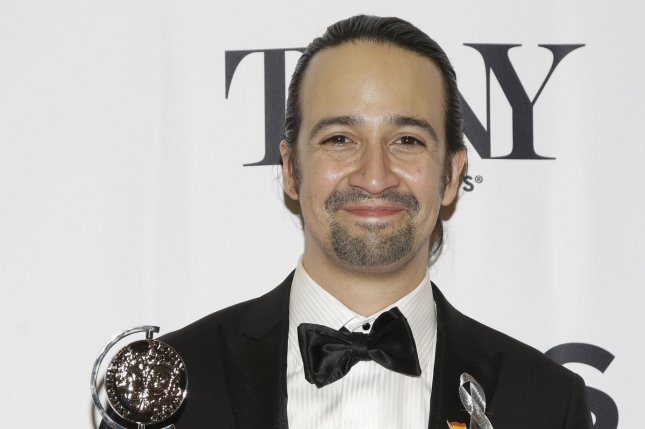 Lin-Manuel Miranda arrives in the press room at the 70th Annual Tony Awards on June 12, 2016. Miranda will release a new song to help those affected by Hurricane Maria in Puerto Rico. File Photo by John Angelillo/UPI