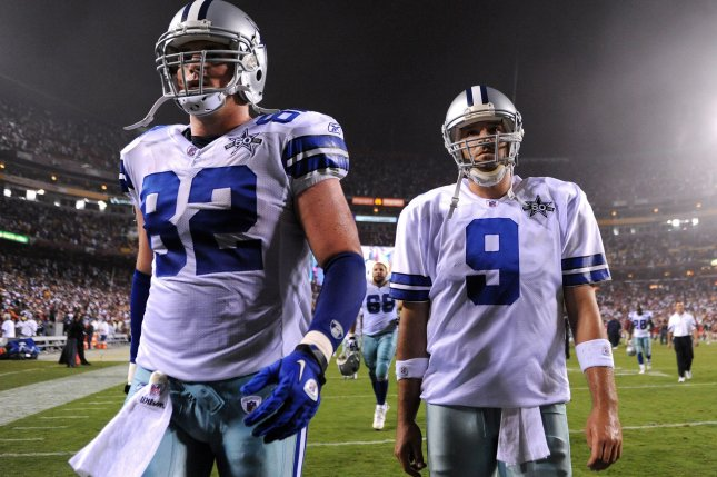 Dallas Cowboys quarterback Tony Romo (9) and tight end Jason Witten leave the field after the Cowboys were defeated by Washington Redskins 13-7 in 2010 at FedEx Field in Landover, Md. File photo by Kevin Dietsch/UPI