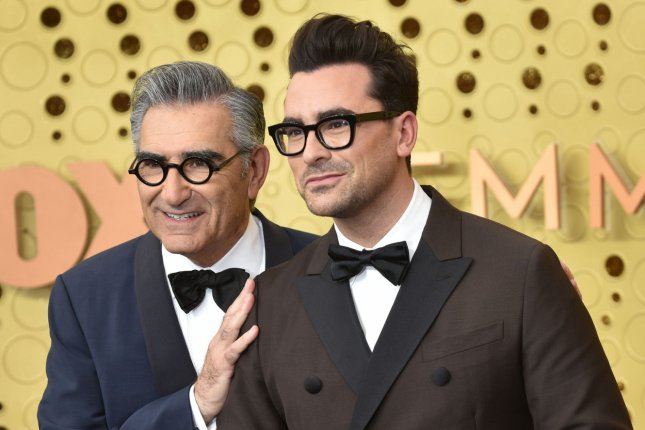 Schitt's Creek creators and stars Eugene Levy (L) and Dan Levy arrive for the 71st annual Primetime Emmy Awards. The comedy series has been nominated for multiple Canadian Screen Awards including Best Comedy Series. File Photo by Christine Chew/UPI