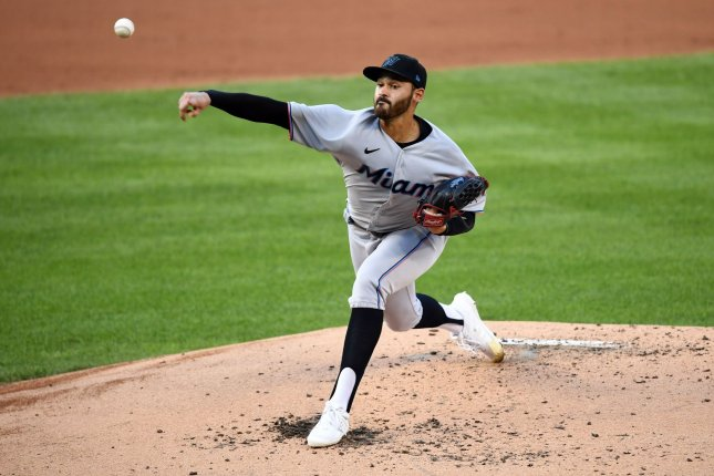 Miami Marlins starter Pablo Lopez throws a pitch against the Washington Nationals on Monday at Nationals Park in Washington, D.C. Photo by Kevin Dietsch/UPI
