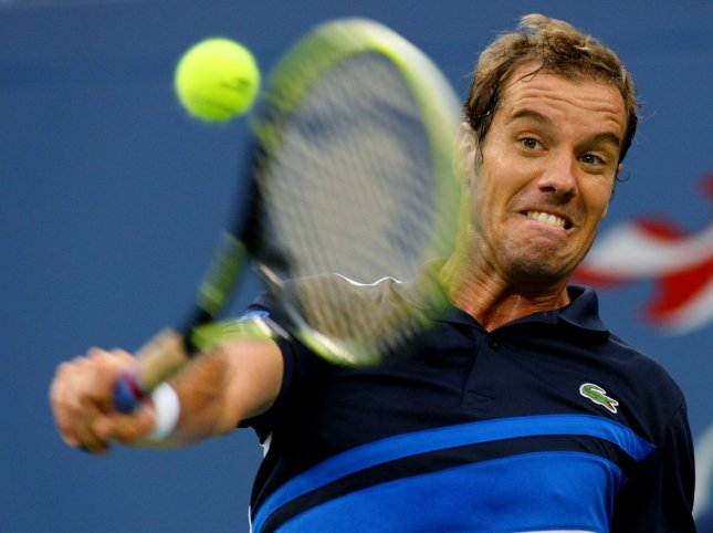 Richard Gasquet, shown in the 2013 U.S. Open, had one of France's two straight-set wins Friday, the first day of a best-of-five Davis Cup series against Australia. UPI /Monika Graff
