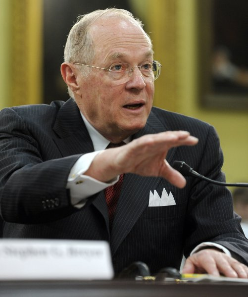 Supreme Court Justice Anthony Kennedy testifies at a House committee hearing April 14, 2011, in Washington. UPI/Roger L. Wollenberg