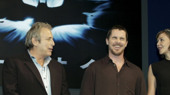 (L-R) Producers Charles Roven, actor Christian Bale, and actress Maggie Gyllenhaal attend a press conference for the film The Dark Knight in Tokyo, Japan, on July 29, 2008. (UPI Photo/Keizo Mori)
