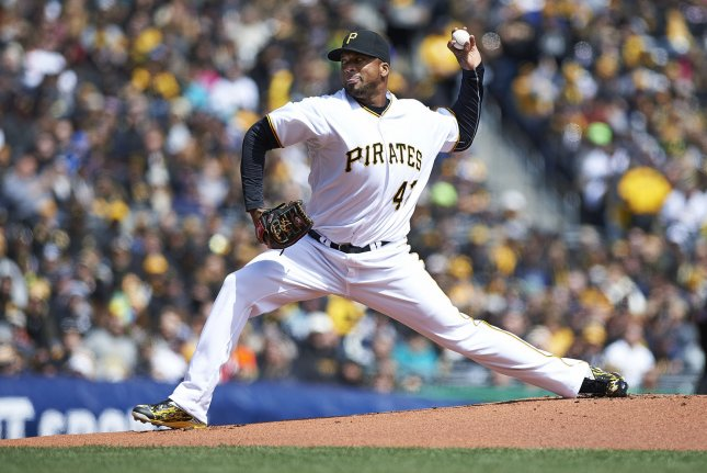 Pittsburgh Pirates starting pitcher Francisco Liriano (47) throws a pitch in the first inning against the St. Louis Cardinals on Opening Day at PNC Park in Pittsburgh, on April 3, 2016. Photo by Shelley Lipton/UPI
