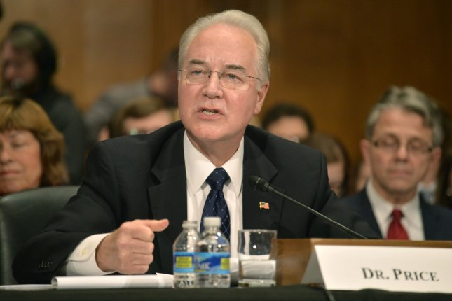 Georgia Rep. Tom Price testifies Wednesday before the U.S. Senate Health, Education, Labor and Pensions Committee at his confirmation hearing to head the Department of Health and Human Services in Washington, D.C. Photo by Mike Theiler/UPI