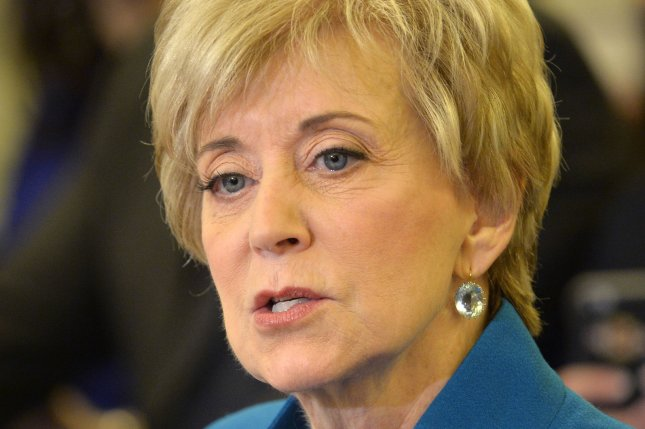 Linda McMahon makes her opening statement before the Senate Small Business Committee as nominee to run the Small Business Administration on January 24 on Capitol Hill, in Washington, D.C. File photo by Mike Theiler/UPI