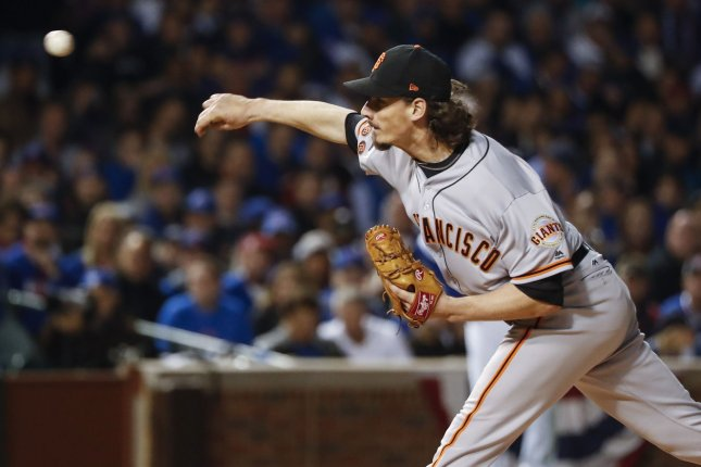 San Francisco Giants starting pitcher Jeff Samardzija delivers a pitch. File photo by Kamil Krzaczynski/UPI