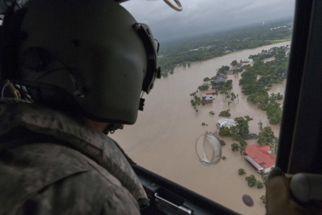 Texas Army National Guard crews conduct search and rescue operations over Houston, Texas, in the aftermath of Hurricane Harvey on August 29. Photo by Sgt. 1st Class Malcolm McClendon/U.S. Army National Guard/UPI