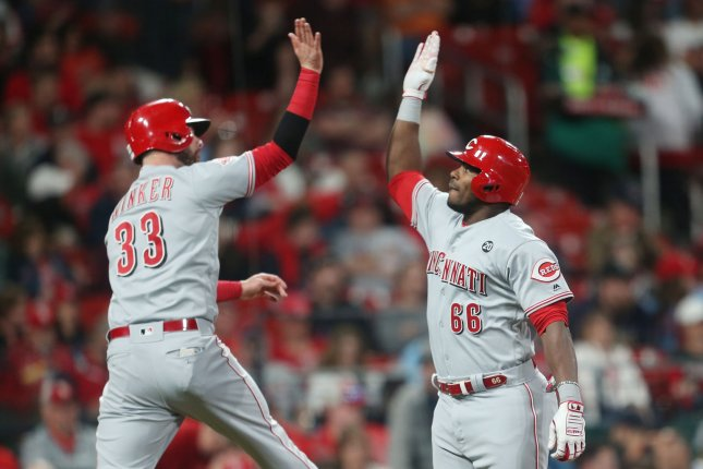 Cincinnati Reds left fielder Jesse Winker (33) hit a go-ahead home run on Monday and caught the final out on Wednesday, helping his squad win two games against the New York Mets at Citi Field in Queens. Photo by Bill Greenblatt/UPI