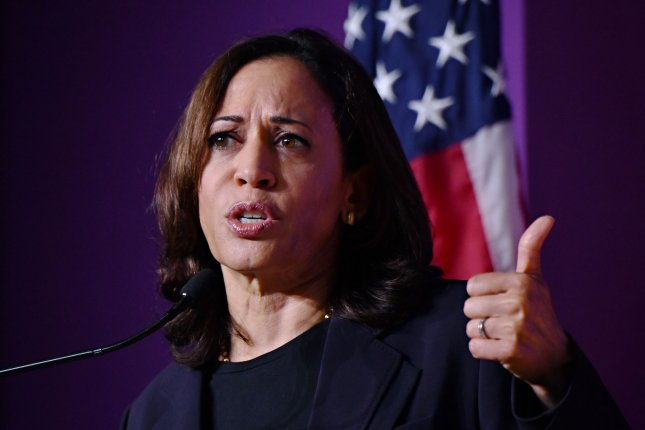 Democratic presidential hopeful Sen. Kamala Harris introduced a bill offering $5 million in grants to school districts that make efforts to align their schedules with working parents. Photo by Richard Ellis/UPI