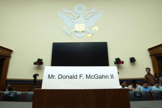 A name card for former White House counsel Don McGahn is seen on the witness table during a House judiciary committee hearing on Capitol Hill in Washington, D.C., on May 21, 2019. McGahn ignored a subpoena and did not show up to the hearing, at the direction of President Donald Trump. File Photo by Kevin Dietsch/UPI