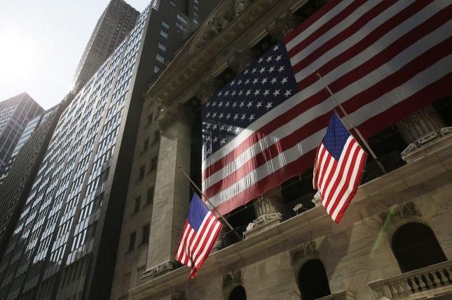 American Flags hang at the New York Stock Exchange in New York City on September 21. Photo by John Angelillo/UPI