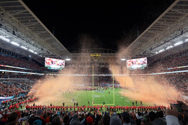 Last season's Super Bowl was held Feb. 2, 2020, at Hard Rock Stadium in Miami Gardens, Fla. This year's NFL championship game is set for Feb. 7 at Raymond James Stadium in Tampa. File Photo by Tasos Katopodis/UPI