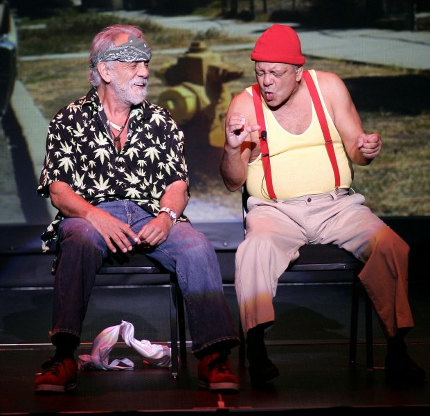 Tommy Chong (L) and Cheech Marin of the famed comic duo Cheech and Chong perform in concert at the Fillmore Miami Beach at the Jackie Gleason Theater in Miami Beach on September 27, 2008. (UPI Photo/Michael Bush)