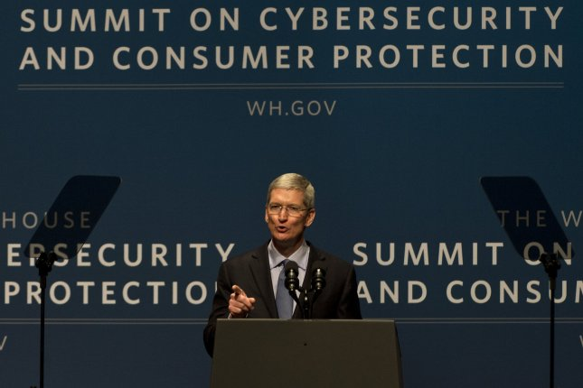 Apple CEO Tim Cook speaks at the Summit on Cybersecurity and Consumer Protection at Stanford University in Palo Alto, California on February 13, 2015. Cook told the WSJD Live conference Monday that he disagreed with NSA chief Admiral Michael Rogers' assessment that private, encrypted data should be stored with back door access for security agencies. Photo by Terry Schmitt/UPI