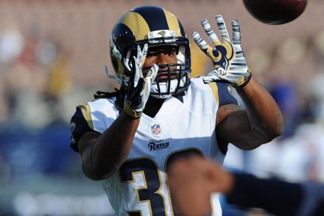 Los Angeles Rams running back Todd Gurley (30) catches the ball prior to a game against the Kansas City Chiefs on August 20 at the Los Angeles Coliseum. File photo by Jon SooHoo/UPI