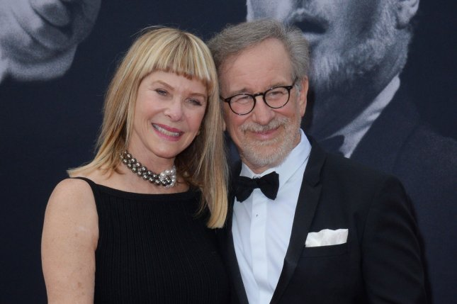 Steven Spielberg (R) and his wife Kate Capshaw (L) attend American Film Institute's 44th Life Achievement Award gala tribute to composer John Williams on June 9, 2016. Spielberg comments on his creative process in the first trailer for documentary, Spielberg. The trailer also features Leonardo DiCaprio. File Photo by Jim Ruymen/UPI