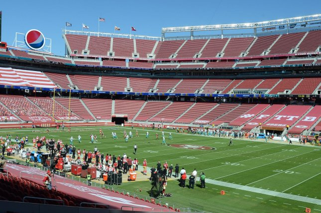 The San Francisco 49ers will not be allowed to play at Levi's Stadium -- their home field in Santa Clara, Calif. -- after Santa Clara County banned contact sports until at least Dec. 21. File Photo by Terry Schmitt/UPI