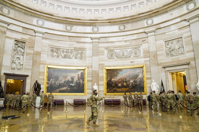 Members of the National Guard are given a tour of the U.S. Capitol on Friday in Washington, D.C. Photo by Leigh Vogel/UPI