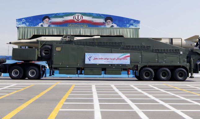 Iranian-made solid fuel Sajjil medium range ballistic missile displayed during annual military parade on September 22, 2011 in front of the mausoleum of the Iran's late leader Ayatollah Khomeini in Tehran,Iran. The parade marks the beginning of the 1980-1988 war between Iran and Iraq. UPI/Maryam Rahmanian