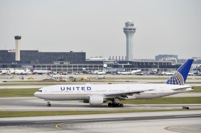 A United Airlines plane taxis at O'Hare International Airport on November 5, 2014 in Chicago. UPI/Brian Kersey