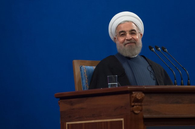Iranian President Hassan Rouhani makes a comment during a press conference in Tehran Iran Aug. 29. A person with Iranian-U.S. citizenship, Siamak Namazi, was arrested earlier this month in Tehran, a family friend revealed. File photo by Ali Mohammadi/UPI