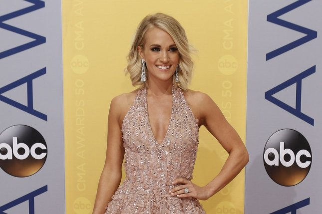 Carrie Underwood arrives at the 2016 Country Music Awards on November 2. Underwood has shared her experiences skydiving on social media. File Photo by John Sommers II/UPI