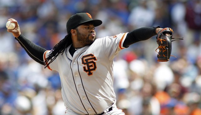 Problems with blisters on his fingers have hampered Johnny Cueto, but were not an issue on Sunday as he pitched the Giants past the Atlanta Braves. File photo by Frank Polich/UPI