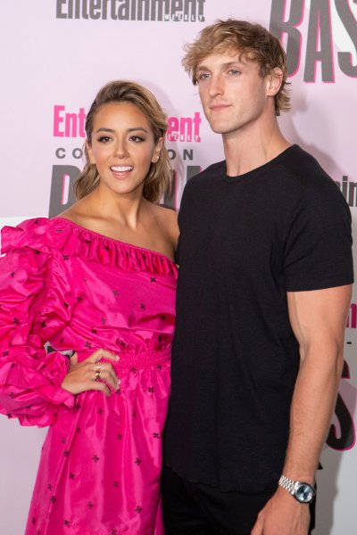 Chloe Bennet (L) and Logan Paul attend the Entertainment Weekly San Diego Comic-Con party on Saturday. Photo by Howard Shen/UPI