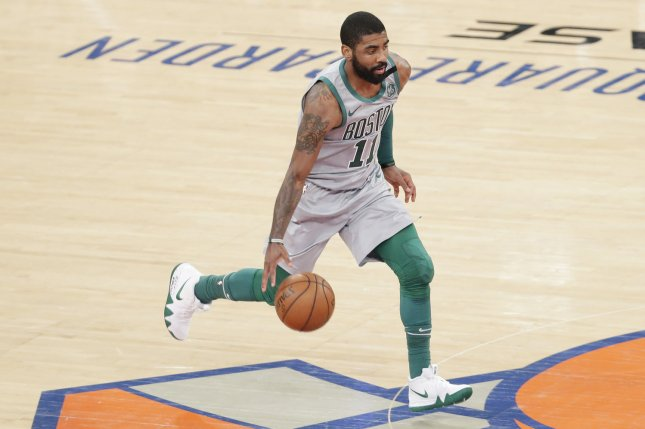 Kyrie Irving and the Boston Celtics pay a visit to the Phoenix Suns on Thursday. Photo by John Angelillo/UPI