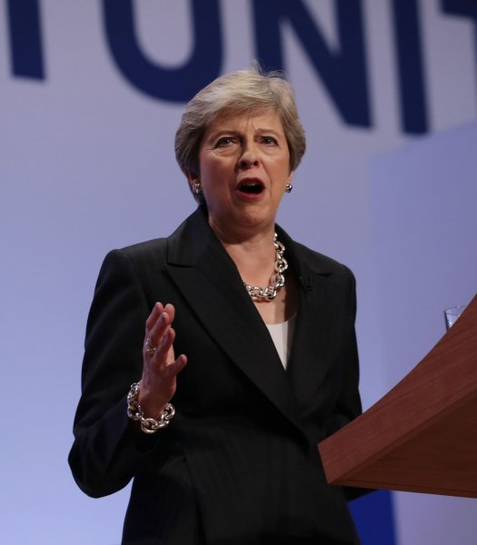 British Prime Minister Theresa May speaks at the 2018 Conservative Party Conference at the ICC Center,Birmingham on October 3. On Thursday, May announced a draft declaration for Brexit. Photo by Hugo Philpott/UPI